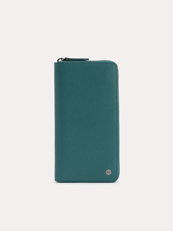 Long Leather Wallet, Dark Green, hi-res