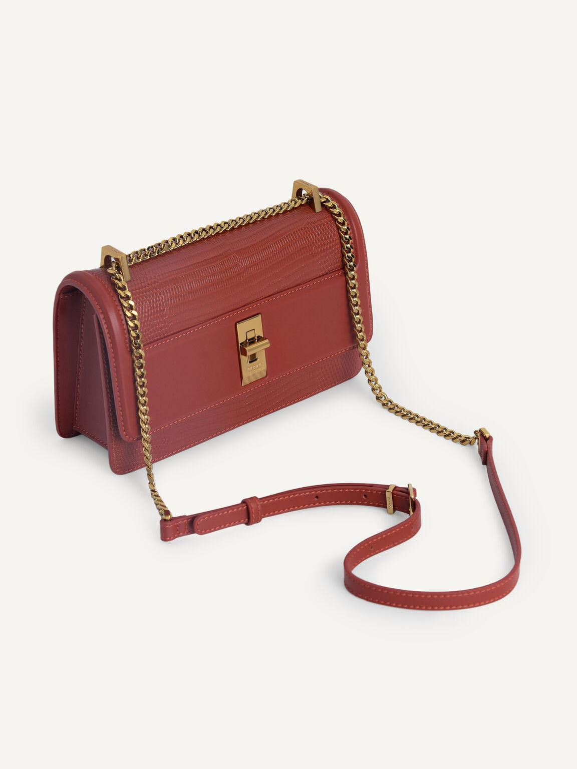 Lizard-Effect Leather Shoulder Bag, Brick, hi-res