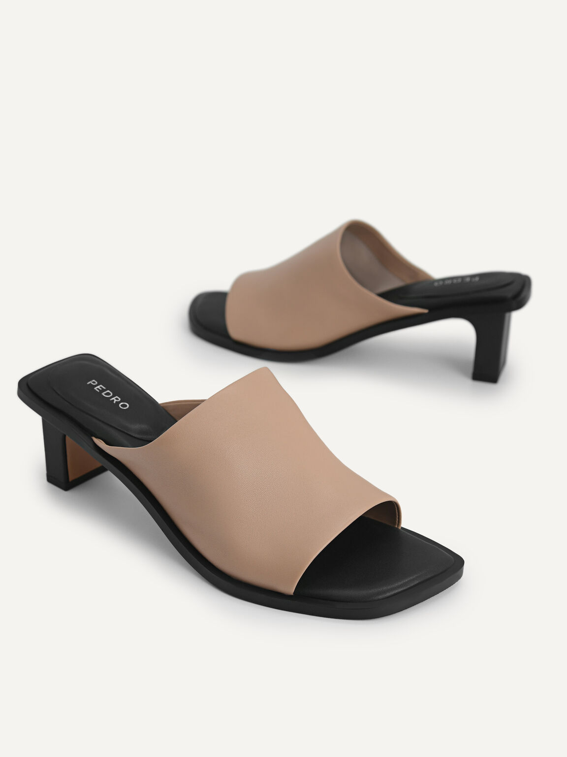 Leather Heeled Mules, Taupe, hi-res