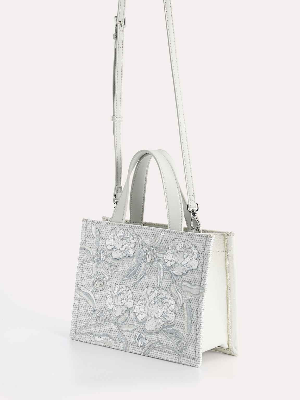 Floral Bouquet Tote, Light Grey, hi-res