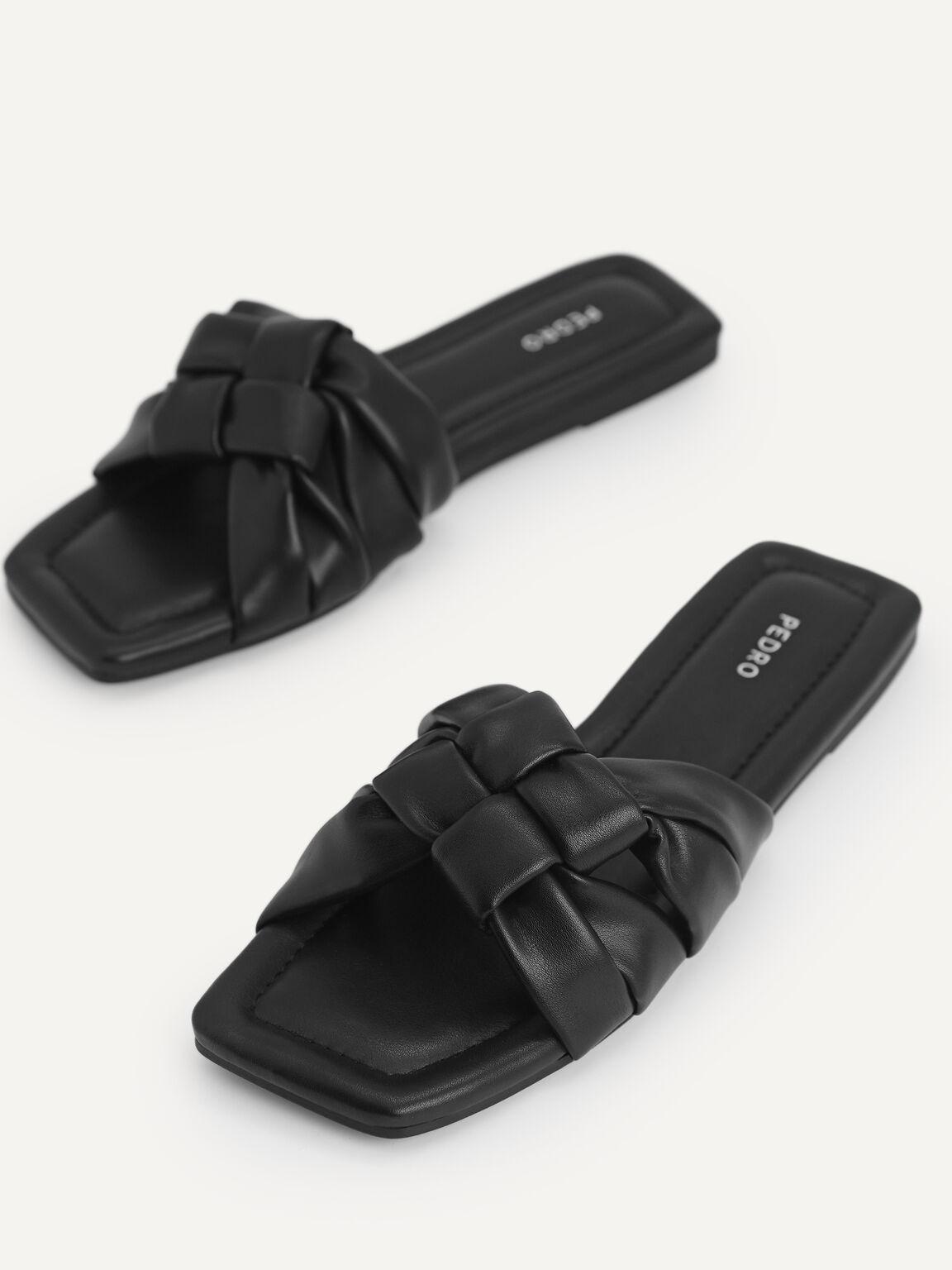 Knotted Straps Slip-On Sandals, Black, hi-res