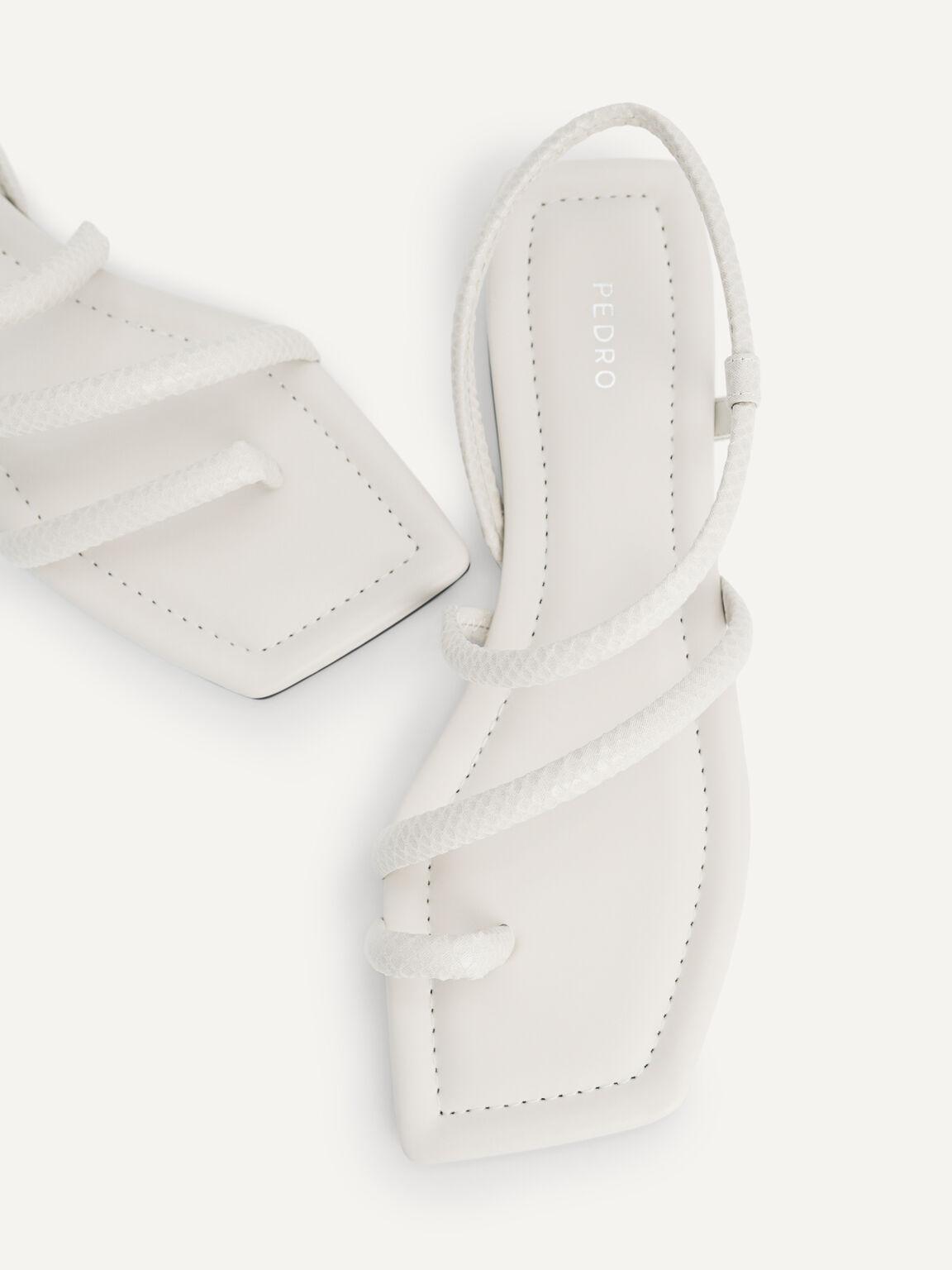 Snake-Effect Strappy Sandals, Chalk, hi-res