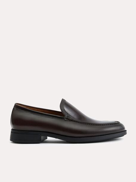Lightweight Leather Loafers, Dark Brown, hi-res