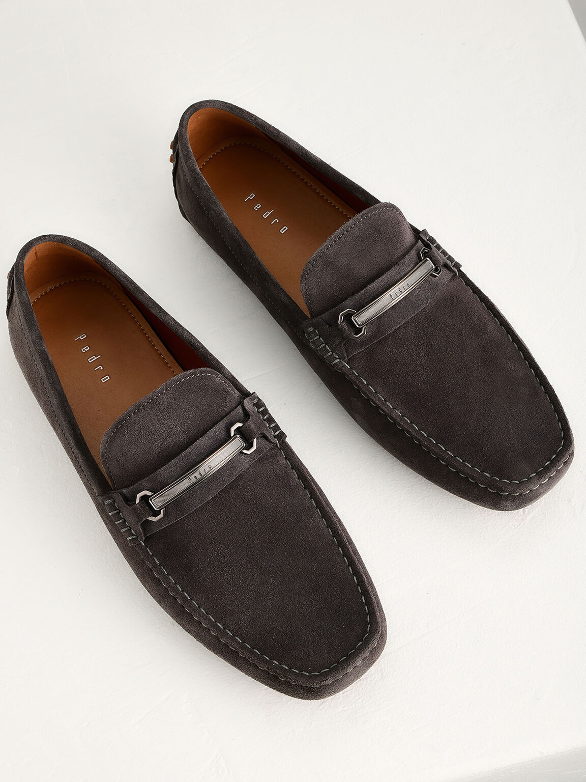 Bit Leather Moccasins, Dark Grey, hi-res