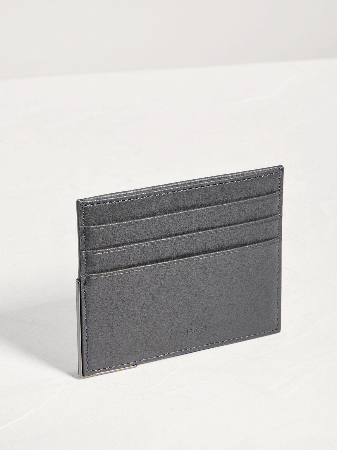 Leather Card Holder, Dark Grey, hi-res