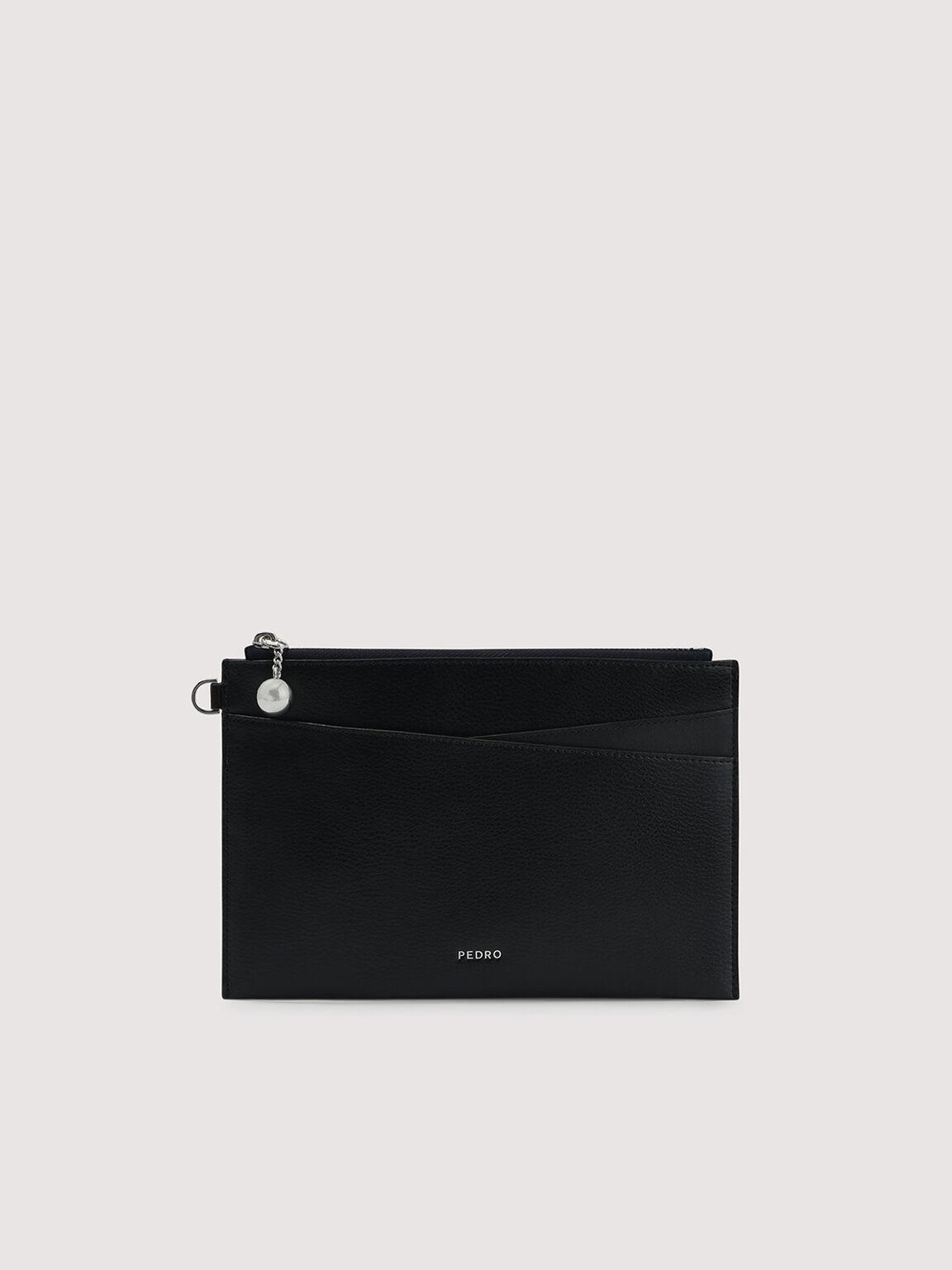 Leather Wristlet, Black, hi-res