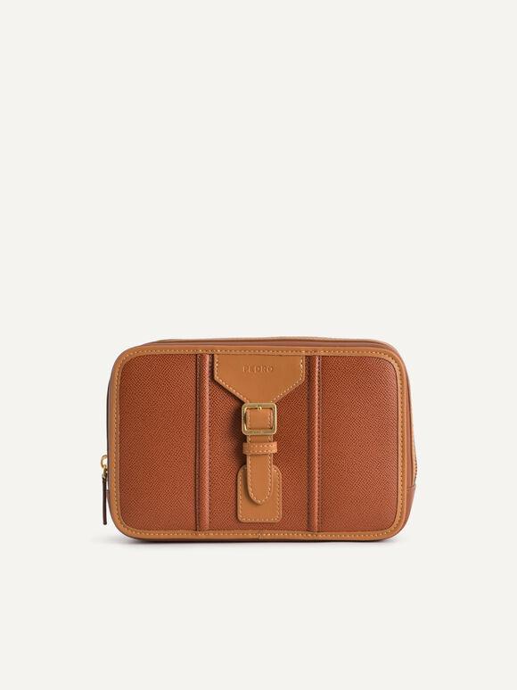 Buckled Textured Leather Clutch, Cognac, hi-res