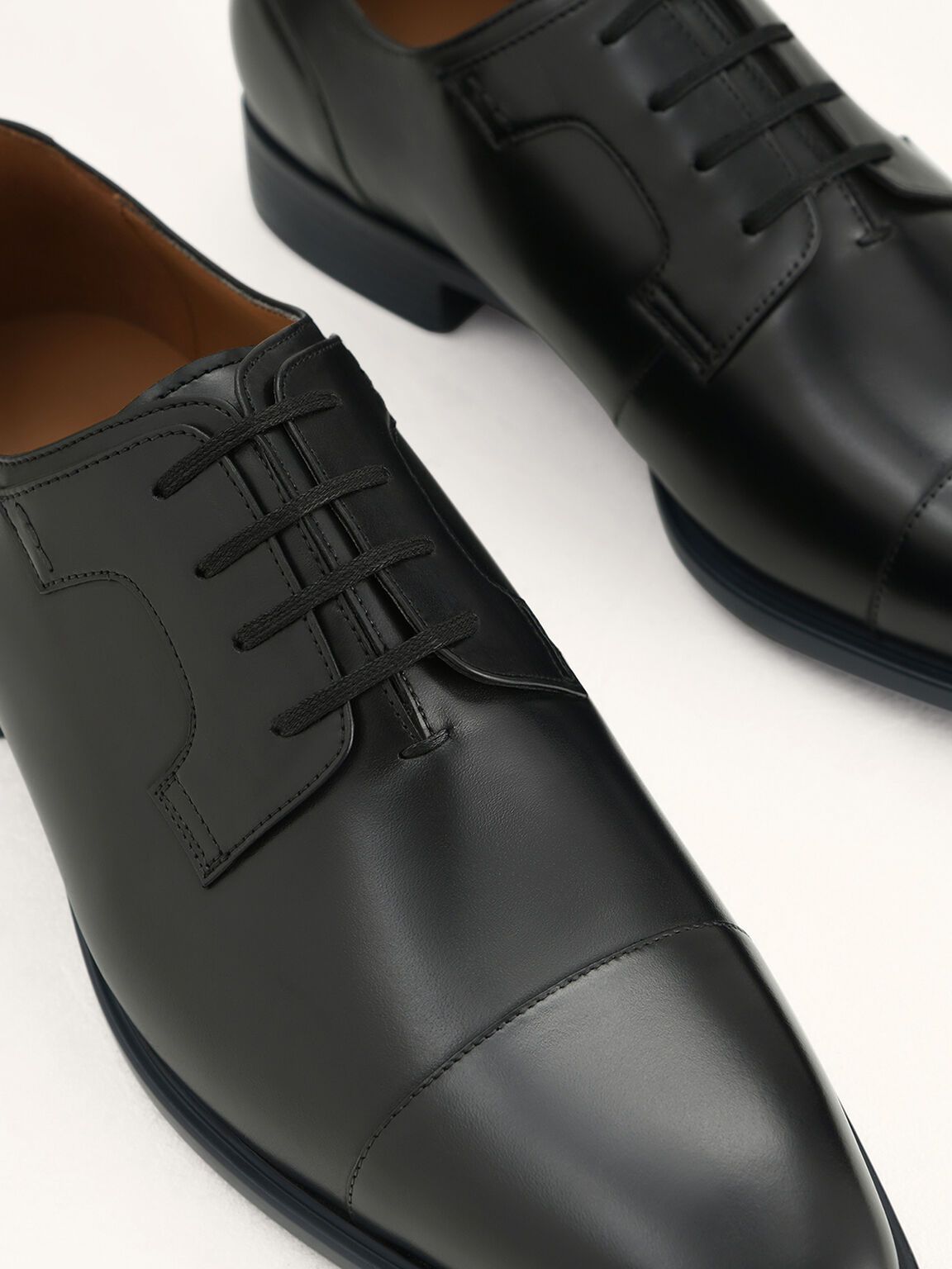 Pointed Toe Leather Derby Shoes, Black, hi-res