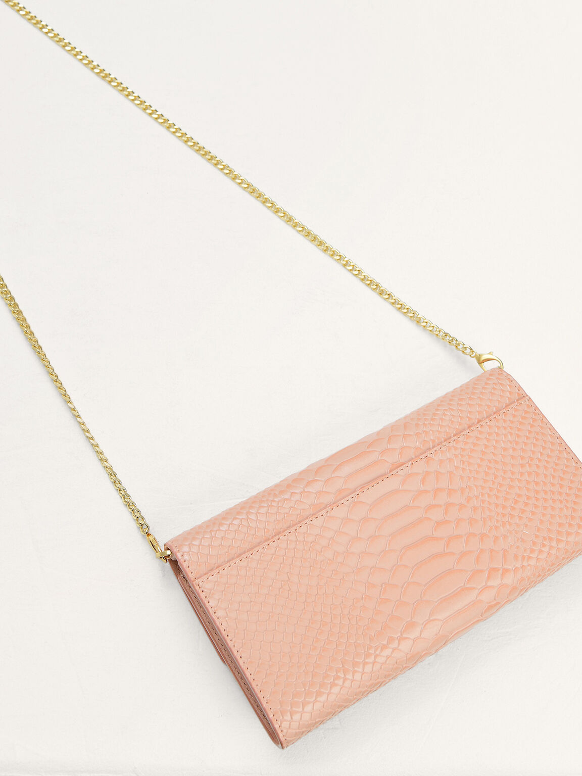 Snake-Effect Leather Wallet On Chain, Nude, hi-res