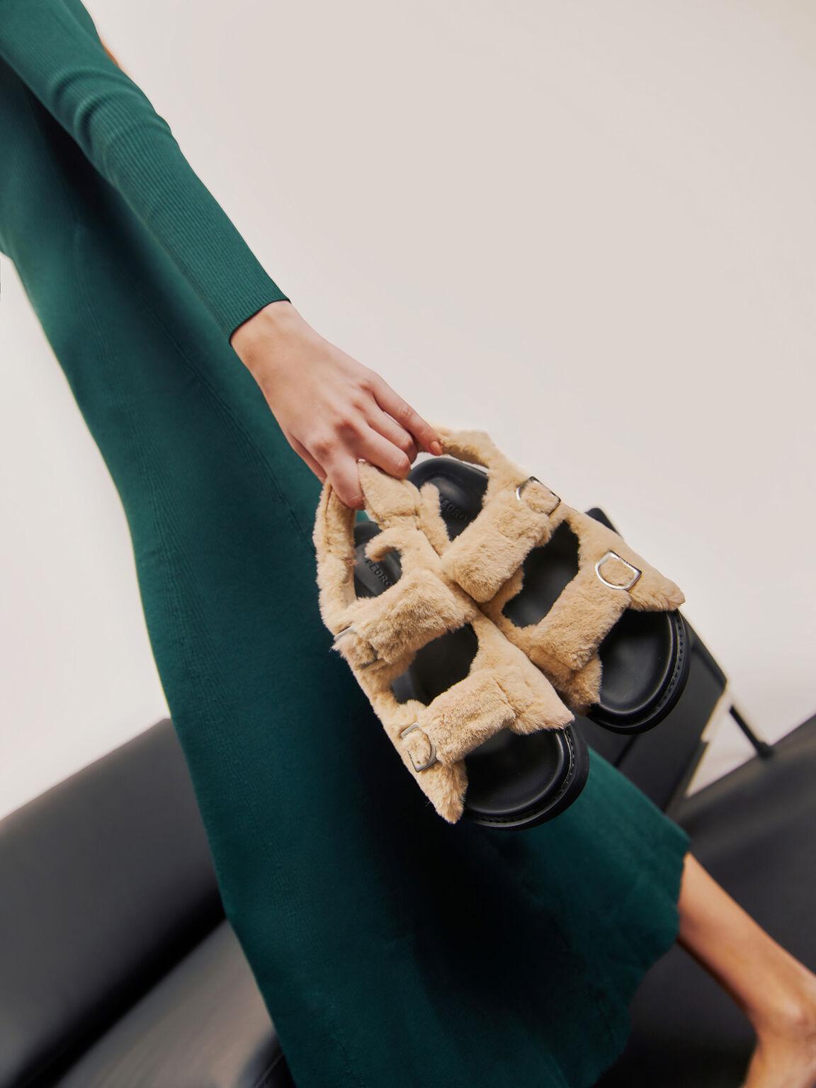Fur Double Strap Sandals, Sand, hi-res