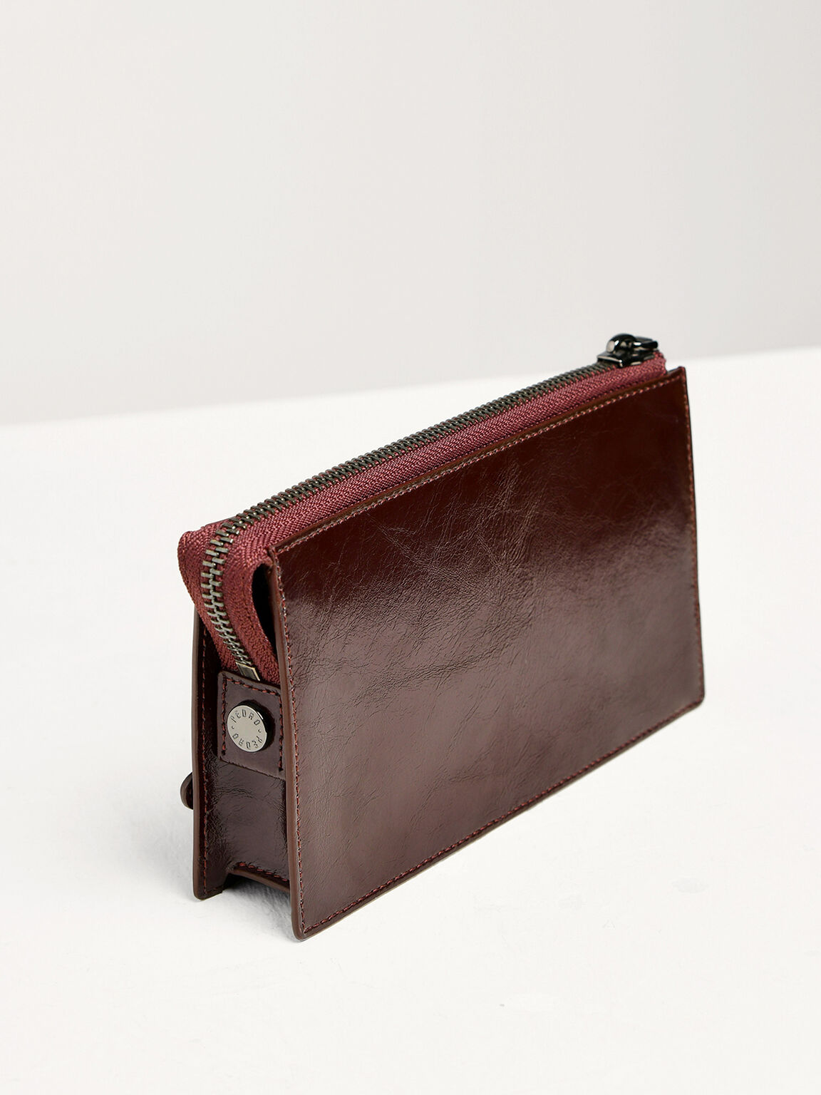 Leather Phone Pouch, Burgundy, hi-res
