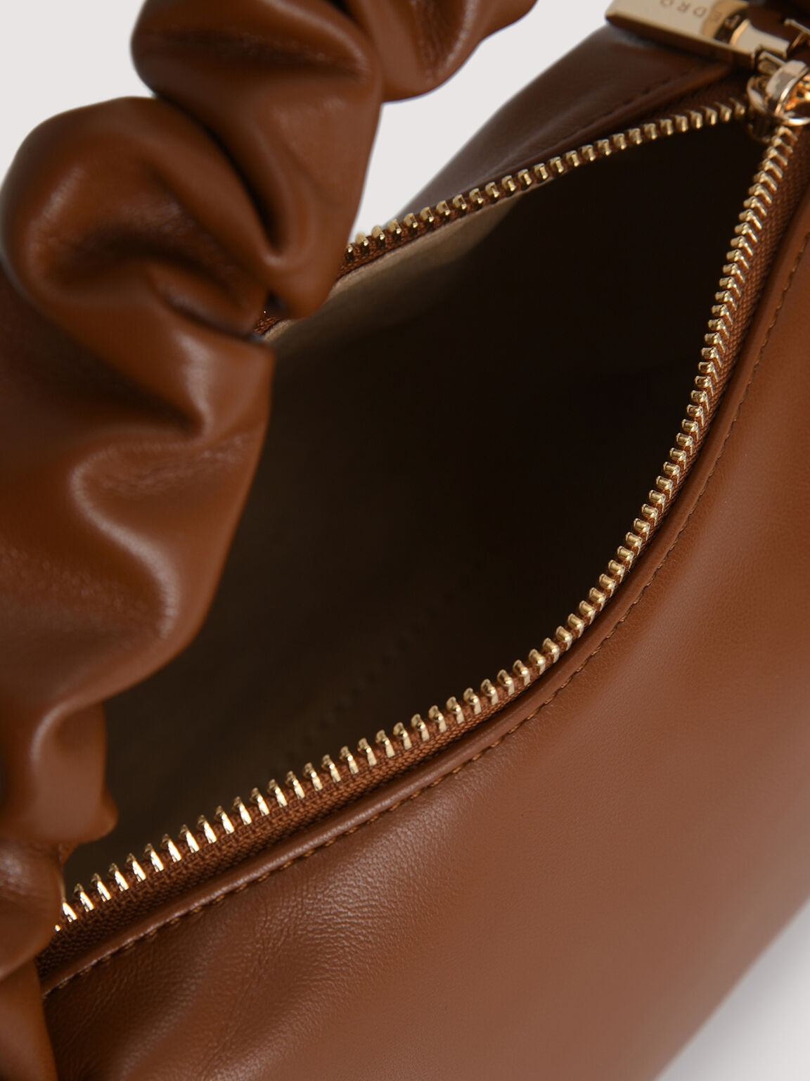Ruched Top Handle Bag, Cognac, hi-res