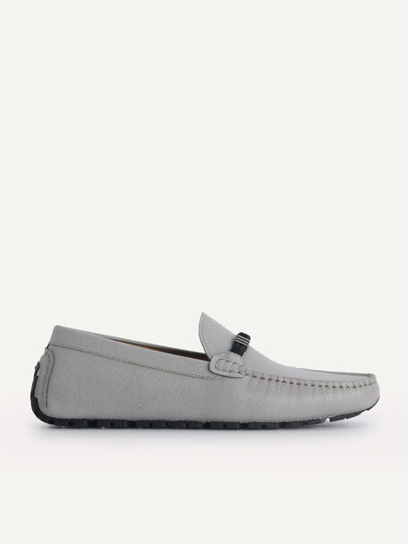Leather Moccasins with Rope Detailing, Grey, hi-res