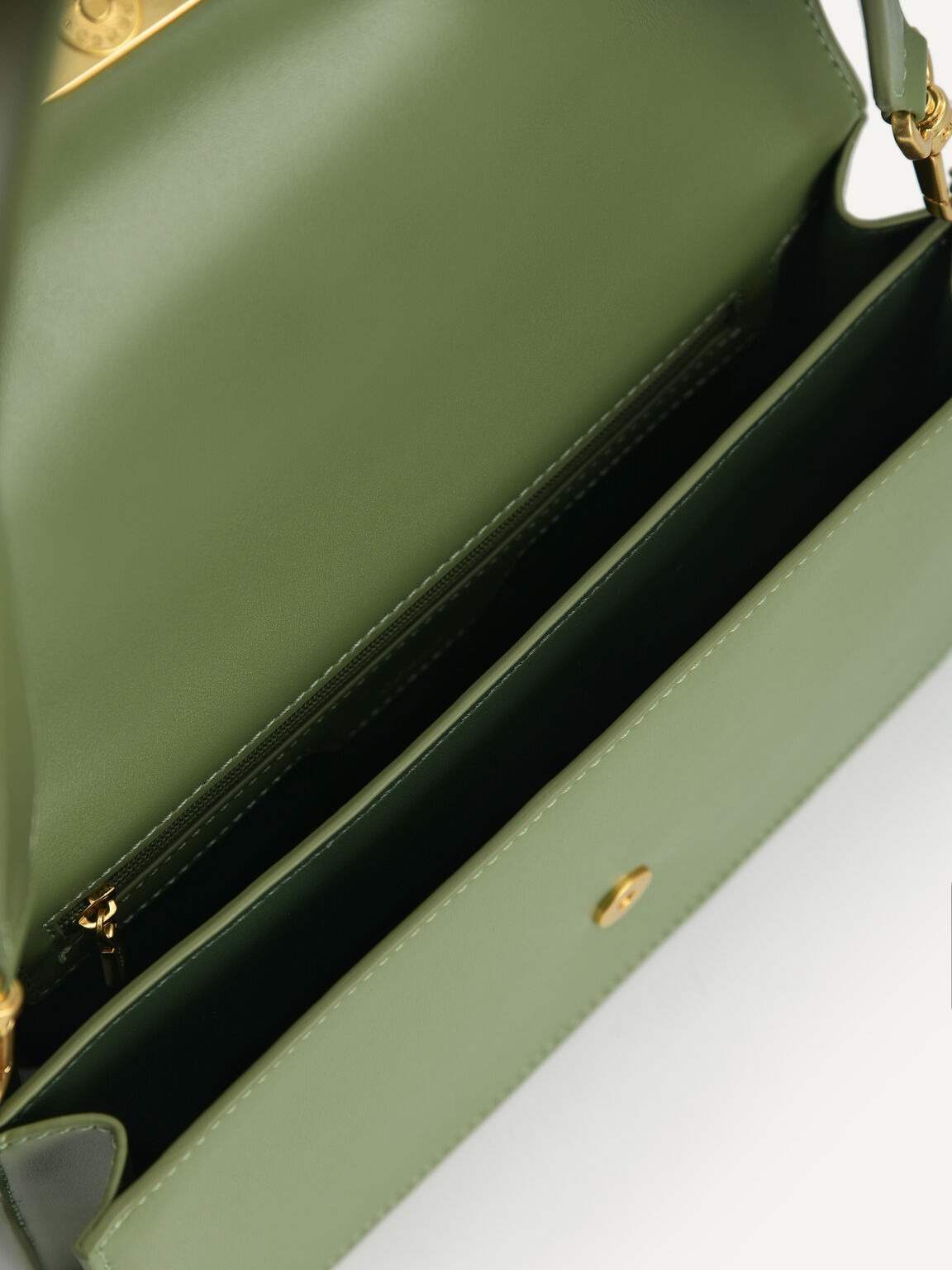 Shoulder Bag with Heart Clasp, Military Green, hi-res