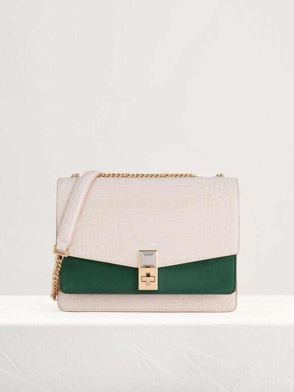 Croc-Effect Shoulder Bag in Two-Tone, Multi, hi-res