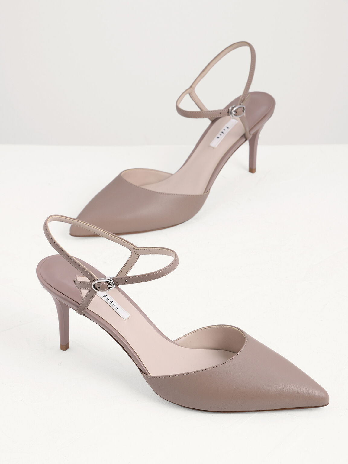 Ankle Strap Pointed Toe Leather Pumps, Taupe, hi-res