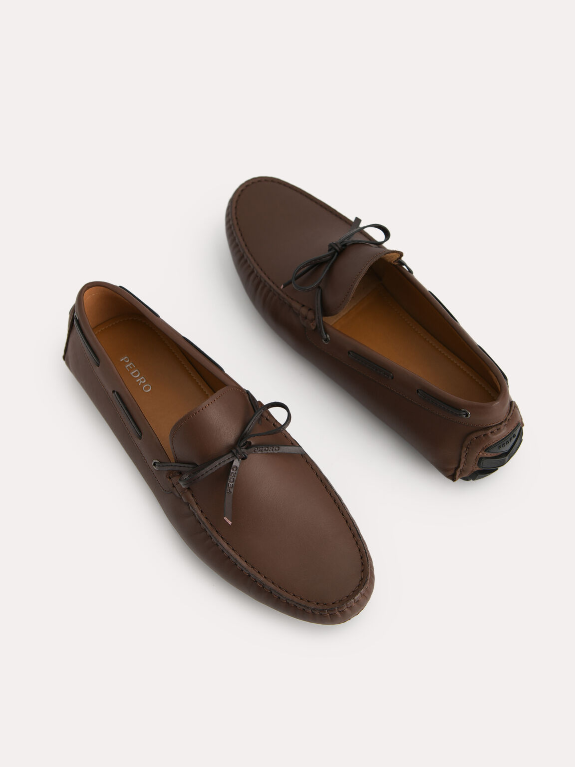 Bow-Detailed Leather Moccasins, Dark Brown, hi-res