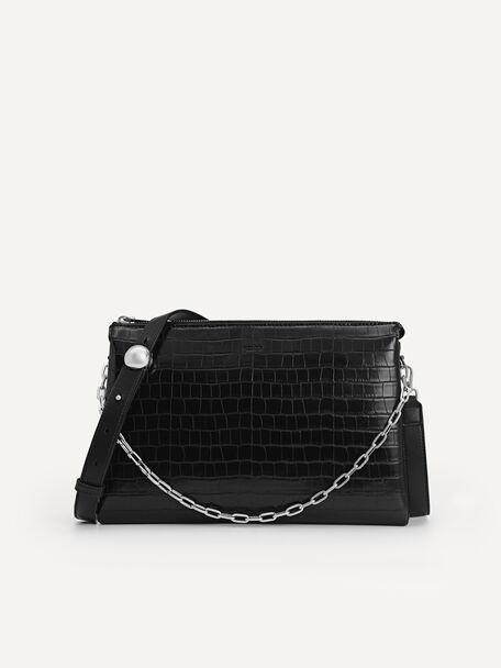 Croc-Effect San Shoulder Bag, Black, hi-res