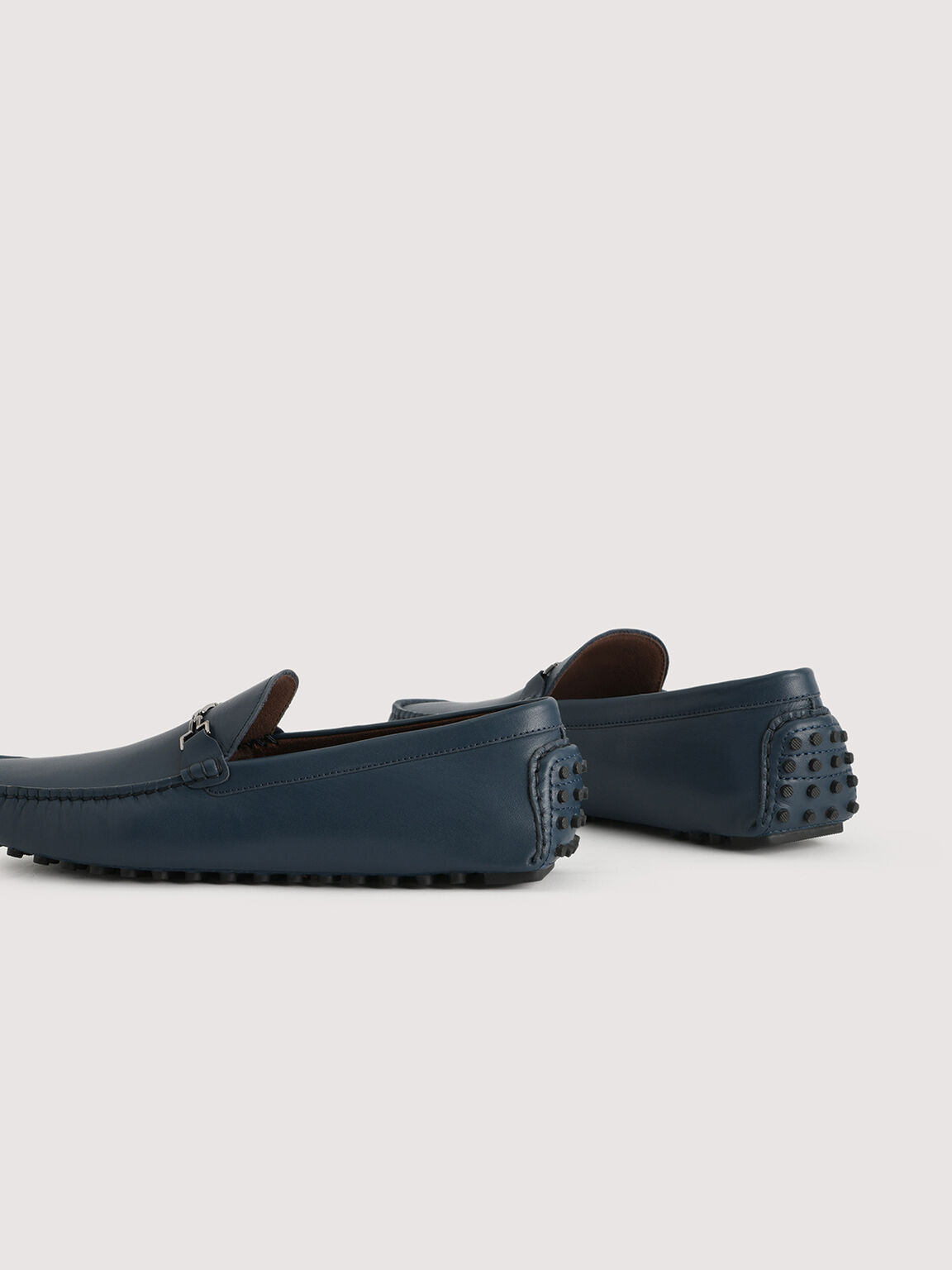 Pebbled Leather Moccasin, Navy, hi-res