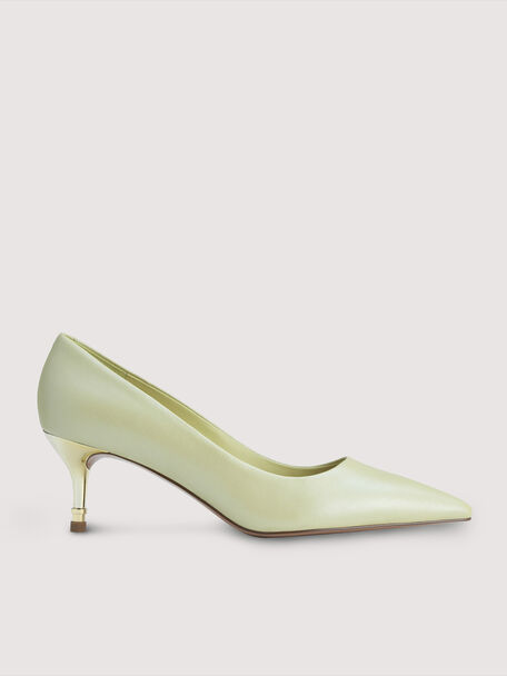 Pearlised Leather Heels, Light Green, hi-res