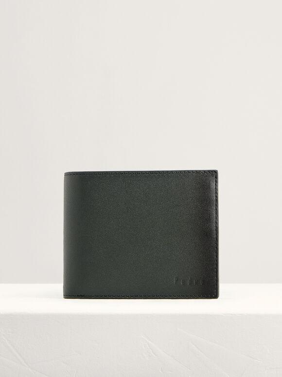 Leather Bi-Fold Flip Wallet, Dark Grey, hi-res