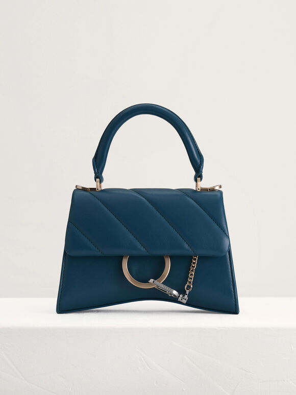 Qulited Top Handle Bag, Teal, hi-res