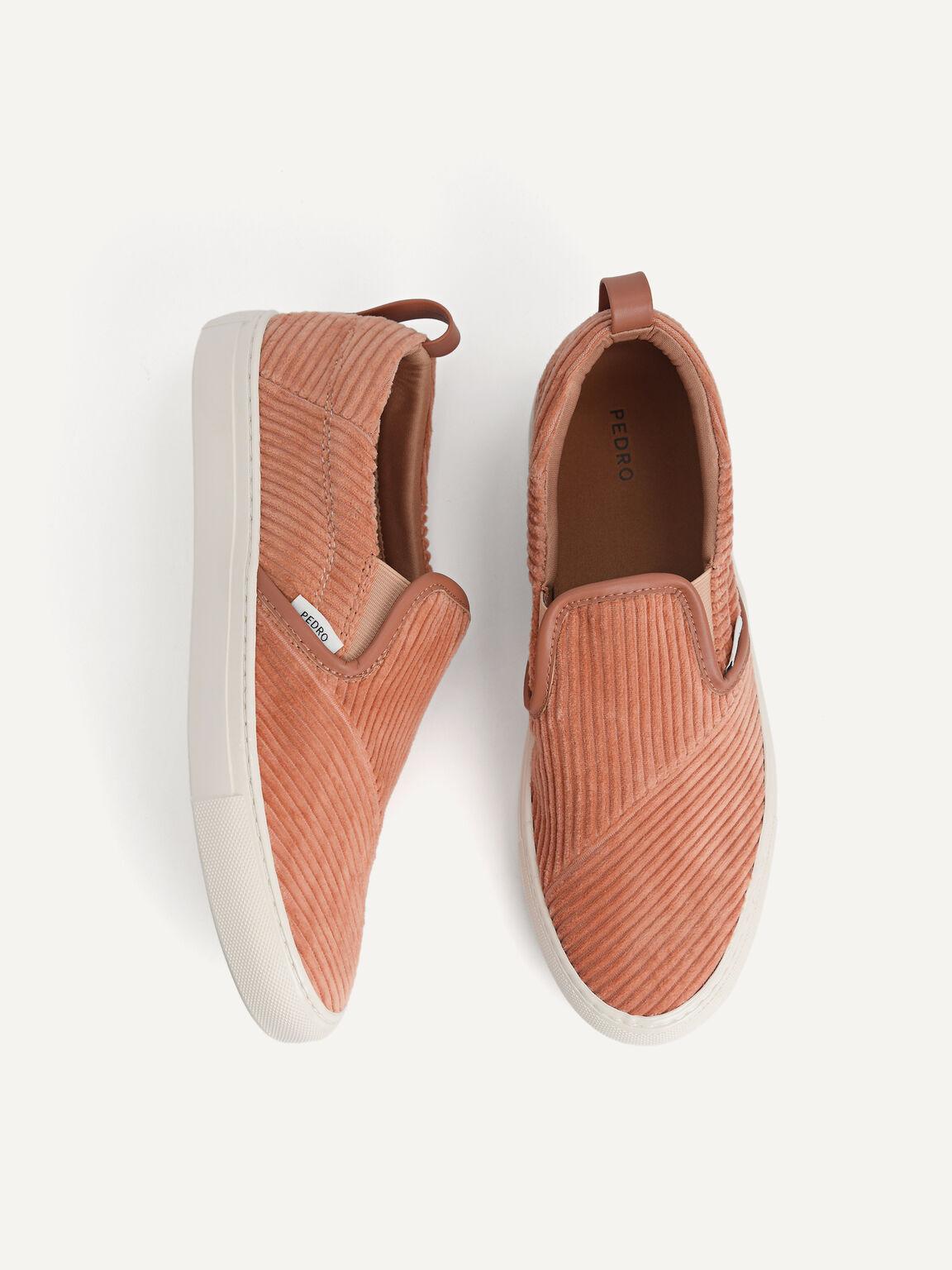 Corduroy Slip-On Sneakers, Walnut, hi-res
