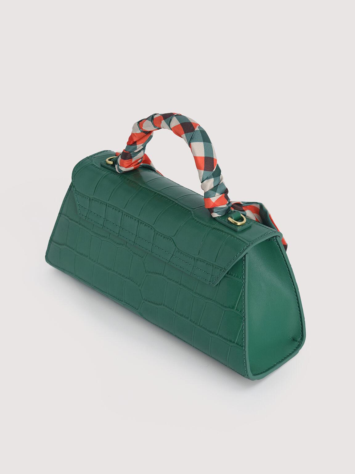 Croc-Effect Trapeze Top Handle Bag, Dark Green, hi-res