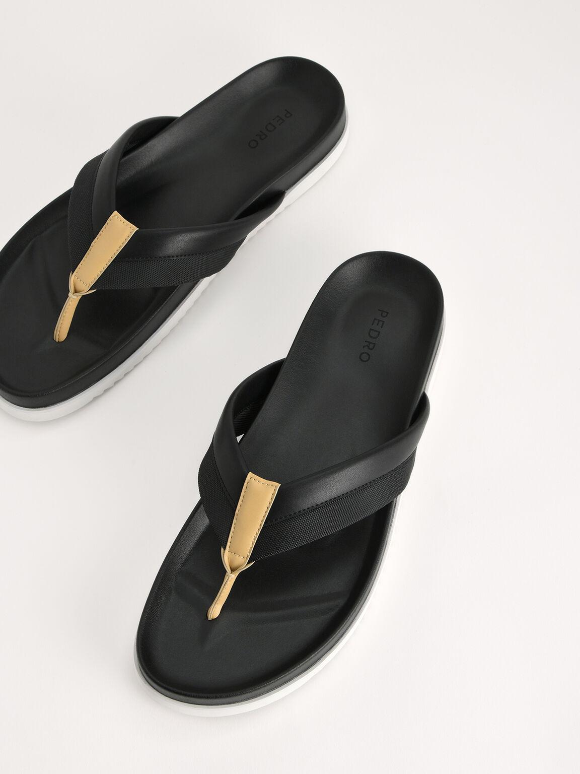 Double Banded Thong Sandals, Black, hi-res