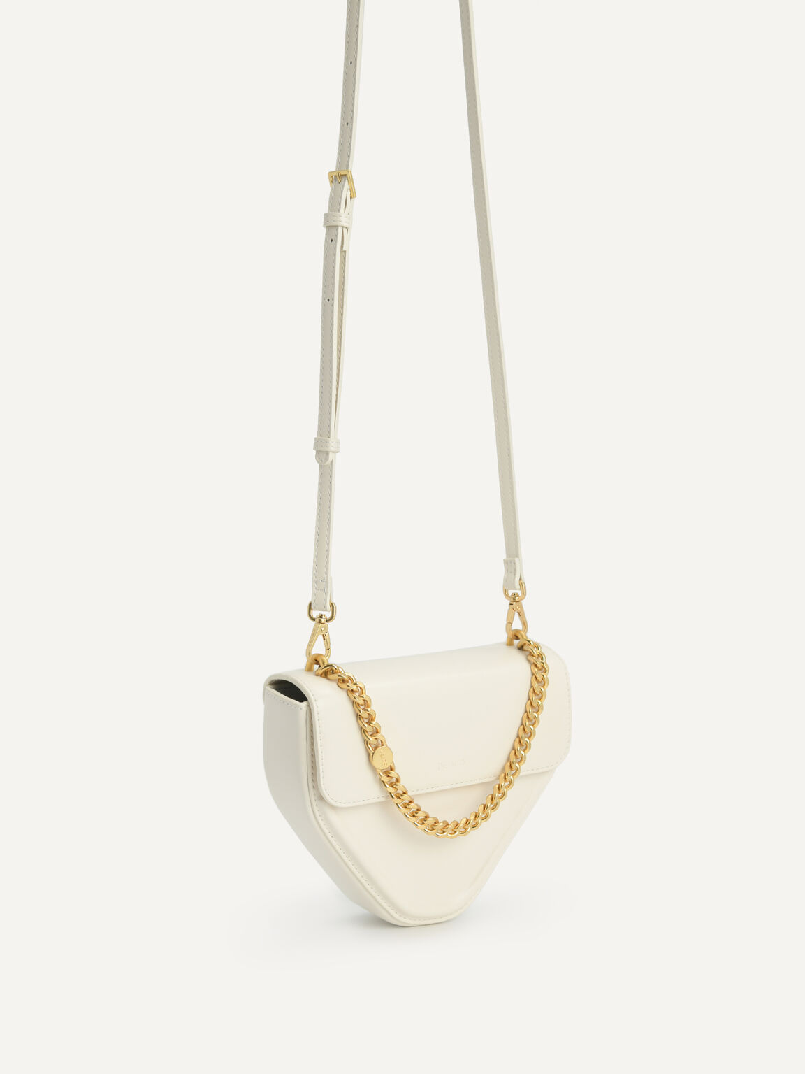 Mini Triangular Chain Shoulder Bag, Chalk, hi-res