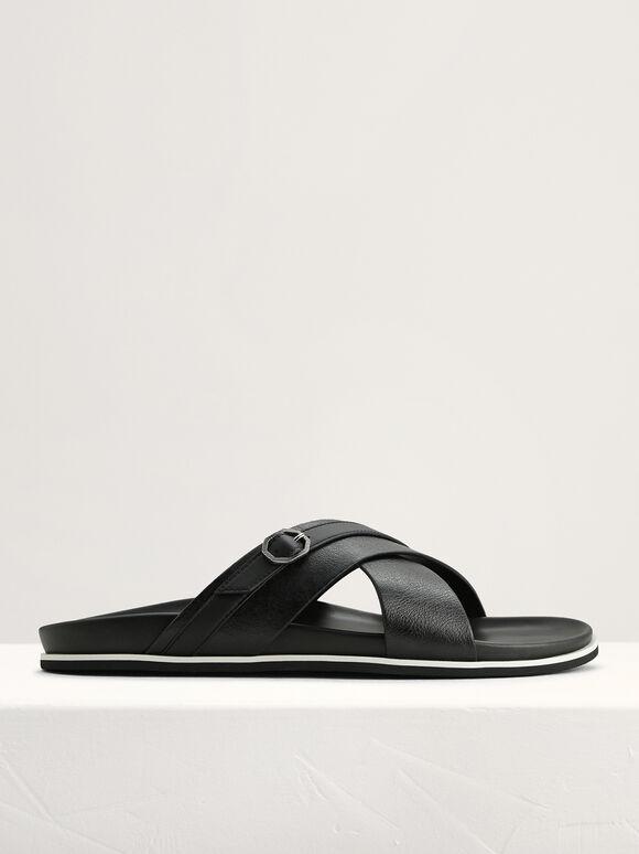 Criss-Cross Sandals with Octagon Hardware, Black, hi-res
