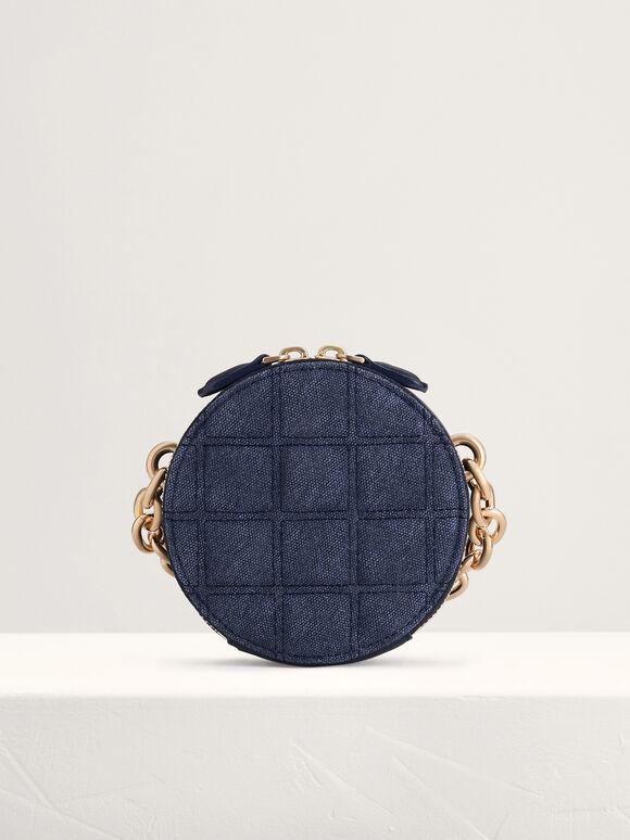 Quilted Mini Circular Shoulder Bag, Navy, hi-res