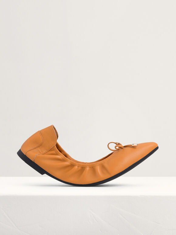 Ribbon Detail Foldable Leather Flats, Mustard, hi-res