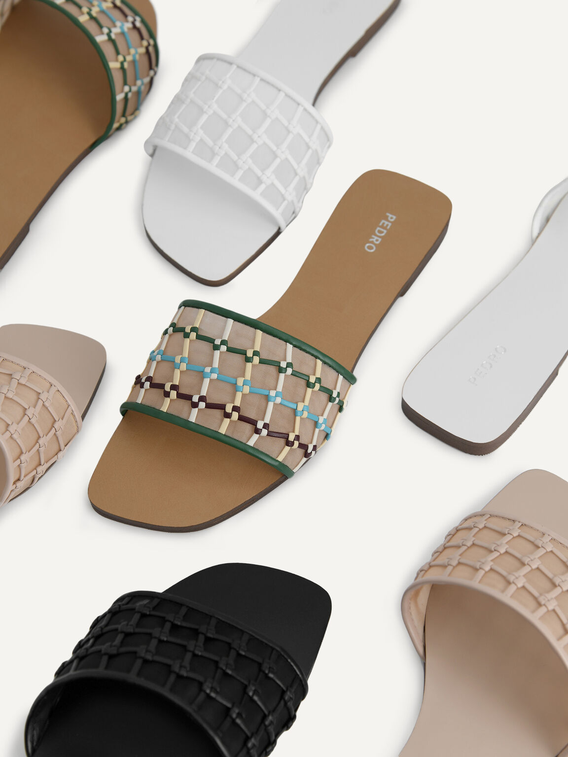 Woven Mesh Slide Sandals, Black, hi-res