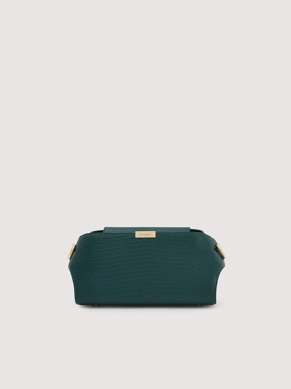 Embossed Leather Clutch, Dark Green, hi-res