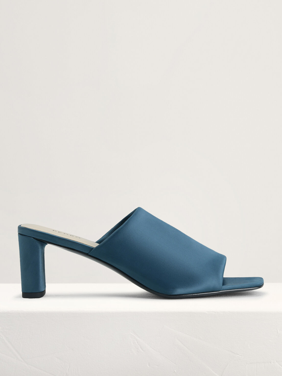 Satin Heeled Mules, Teal, hi-res
