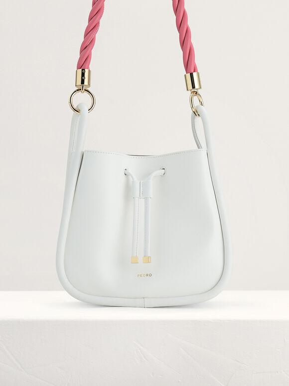 Rope-Trimmed Bucket Bag, White, hi-res