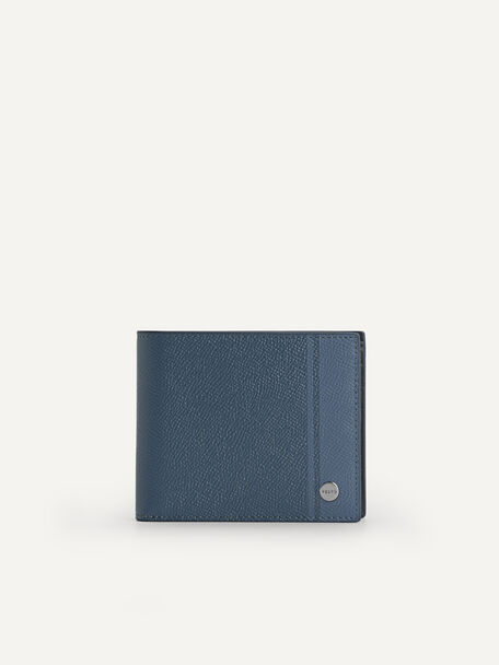 Textured Leather Bi-Fold Wallet with Insert, Slate Blue, hi-res