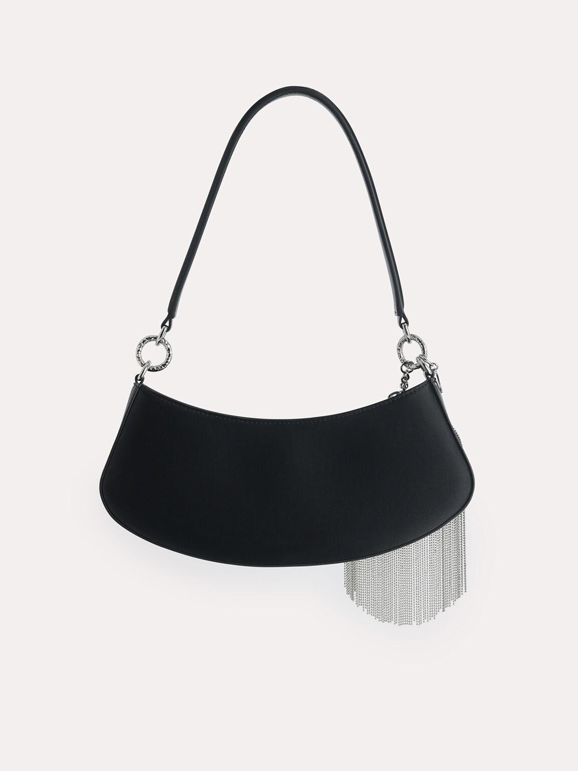 Satin Shoulder Bag, Black, hi-res