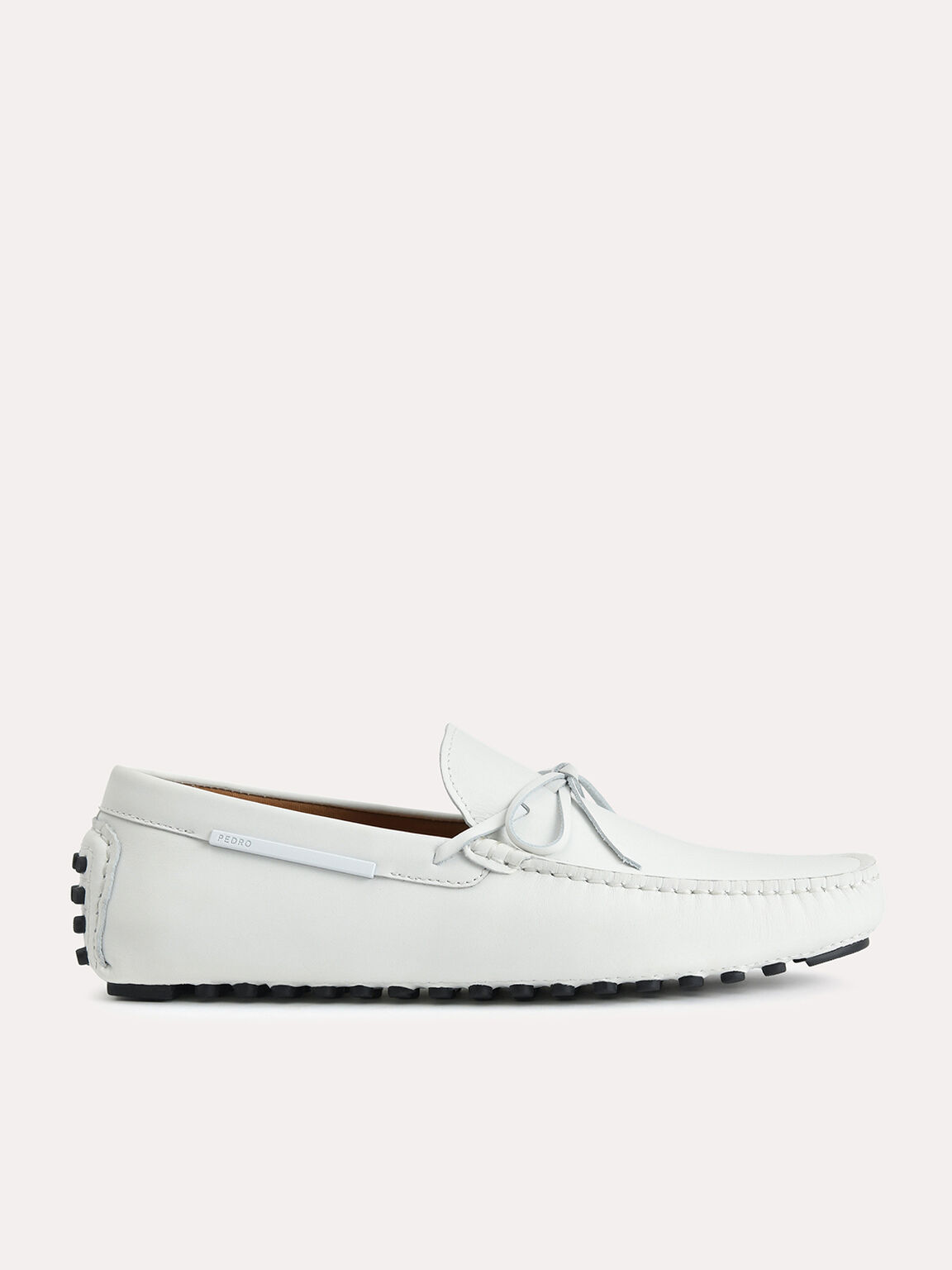 Leather Moccasins with Bow Detailing, White, hi-res