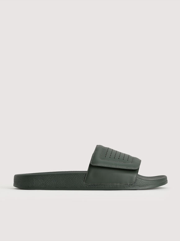 Pinhole Velcro Slides, Military Green, hi-res