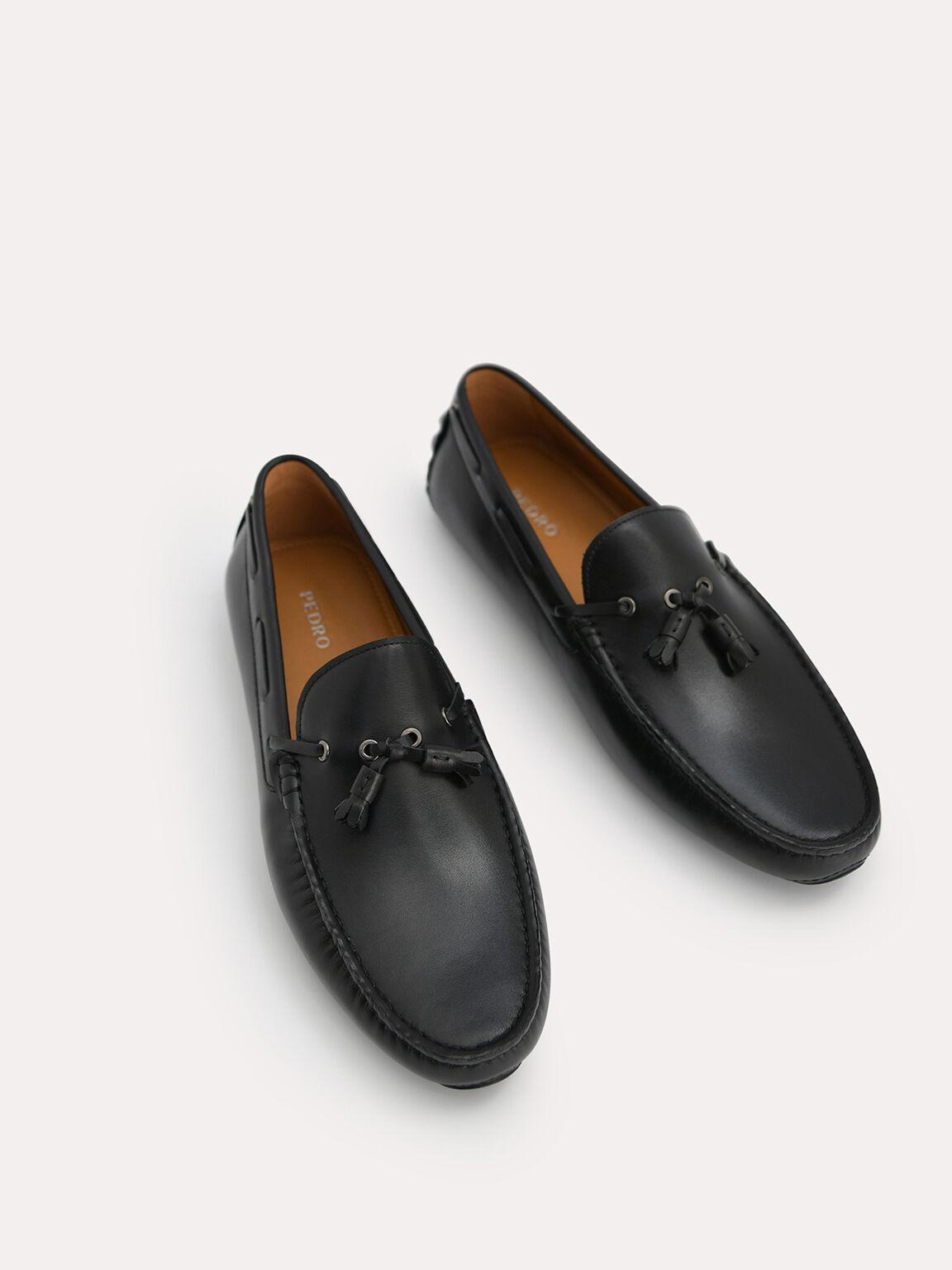 Tasselled Leather Moccasins, Black, hi-res