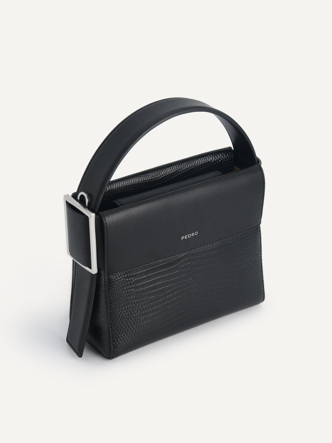 Lizard-Effect Leather Mini Bag, Black, hi-res