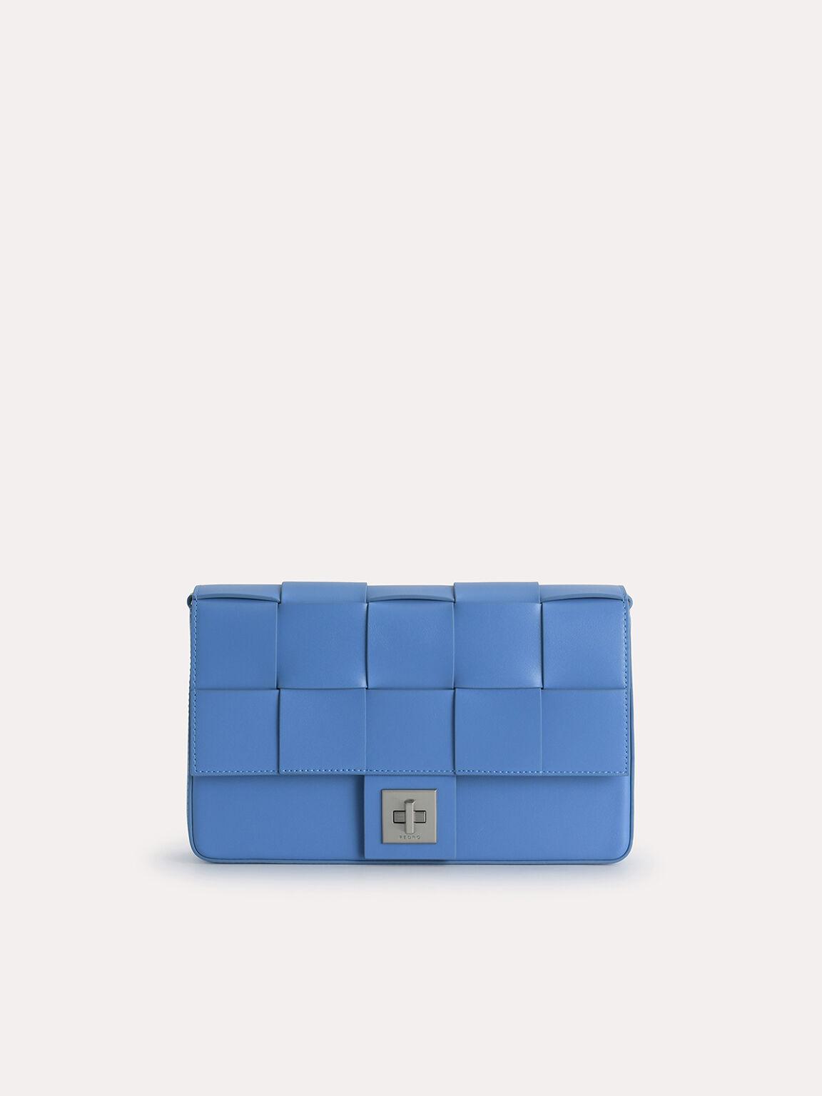 Woven Shoulder Bag, Blue, hi-res