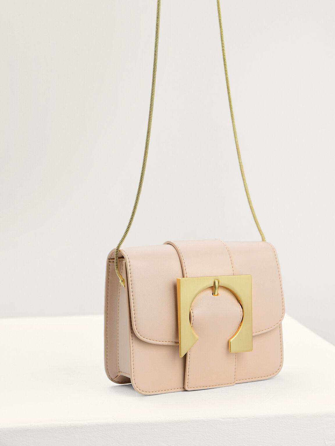 Geometric Buckled Mini Shoulder Bag, Cream, hi-res