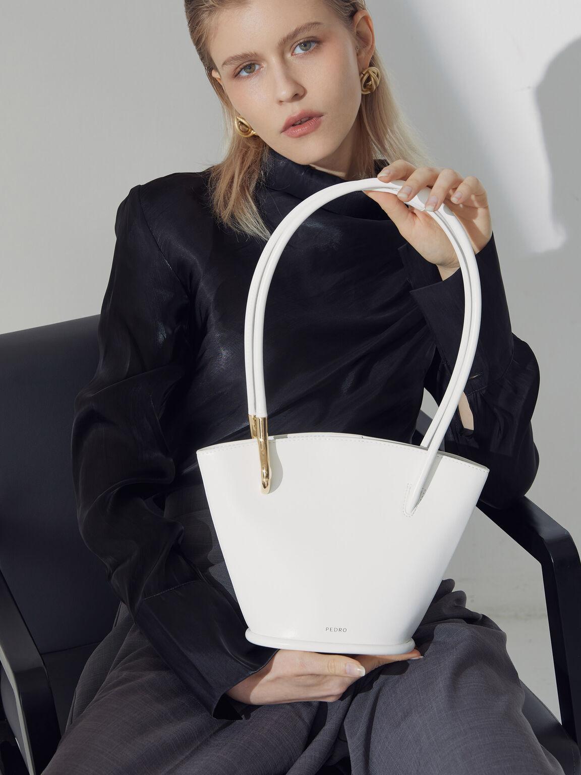 Pastel Bucket Tote Bag, White, hi-res