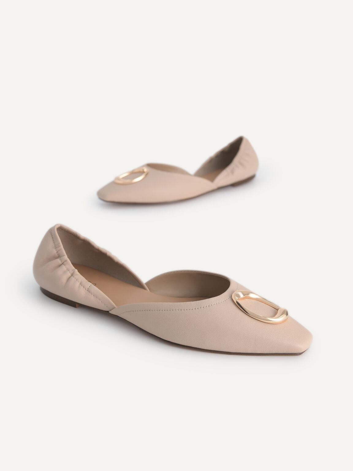 皮革平底鞋, 裸色, hi-res