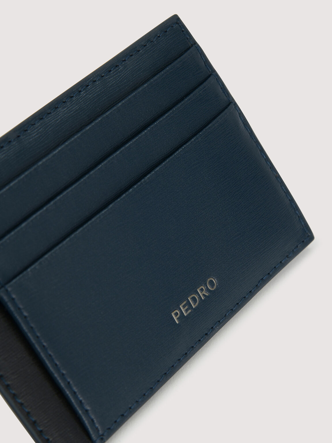 Leather Cardholder with Money Clip, Navy, hi-res