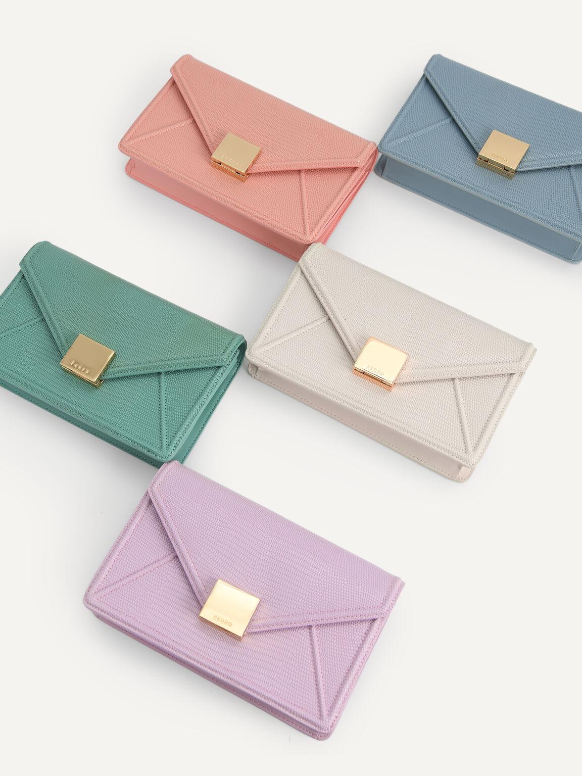 Lizard-Effect Leather Envelope Travel Organizer, Blue, hi-res