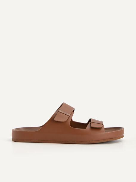 Double Strap Sandals, Brown, hi-res